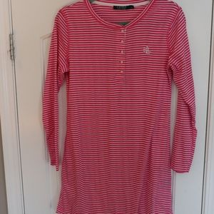 Ralph Lauren Pink and White Striped Night Gown M